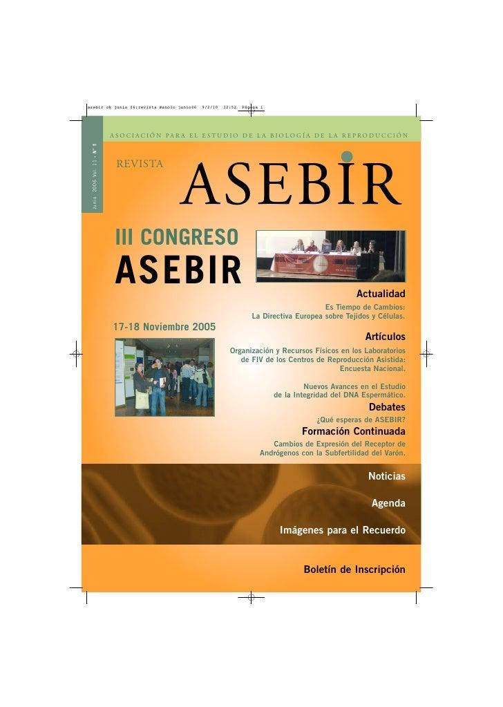 ASOCIACIÓN PARA EL ESTUDIO DE L A BIOLOGÍA DE L A REPRODUCCIÓN N° 1    •                           REVISTA                ...