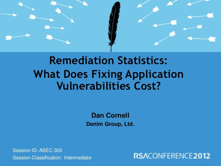 Remediation Statistics:         What Does Fixing Application            Vulnerabilities Cost?                             ...