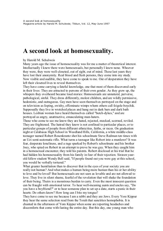 A second look at homosexualityMagazine article by Harold M. Schulweis; Tikkun, Vol. 12, May-June 1997A second look at homo...