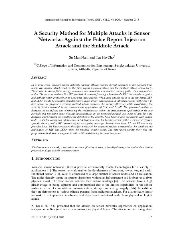 A security method for multiple attacks in sensor networks against the false report injection attack and the sinkhole attack
