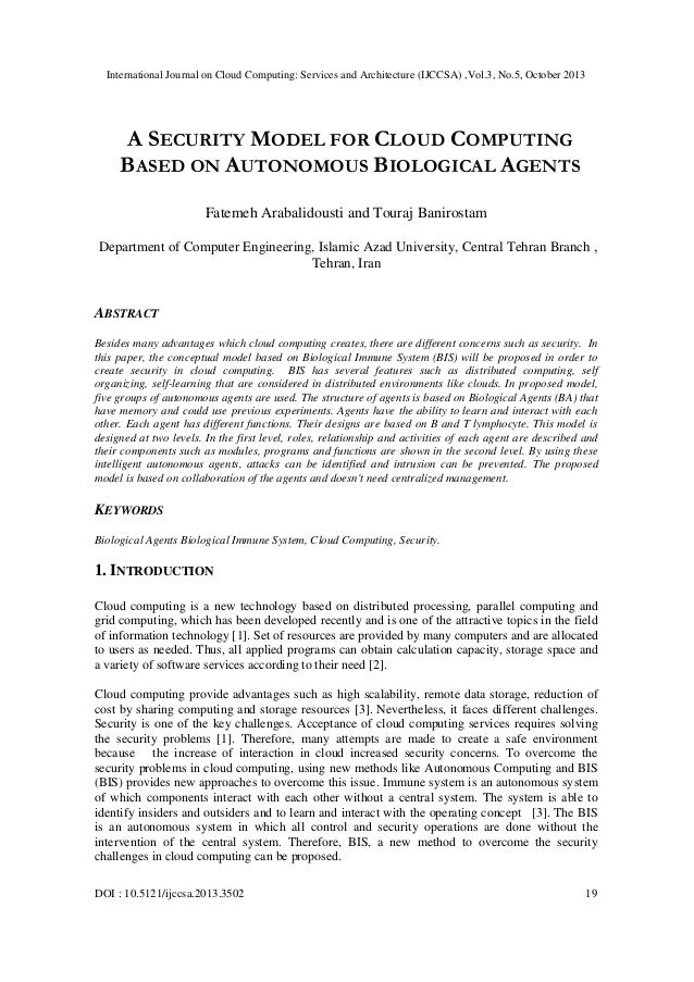 A security model for cloud computing based on autonomous biological agents