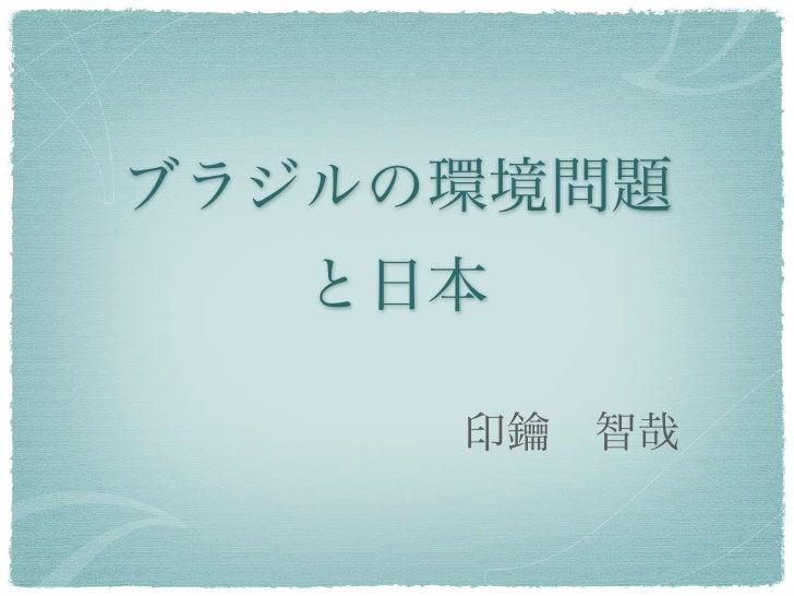 ブラジルの環境問題   と日本     印鑰智哉