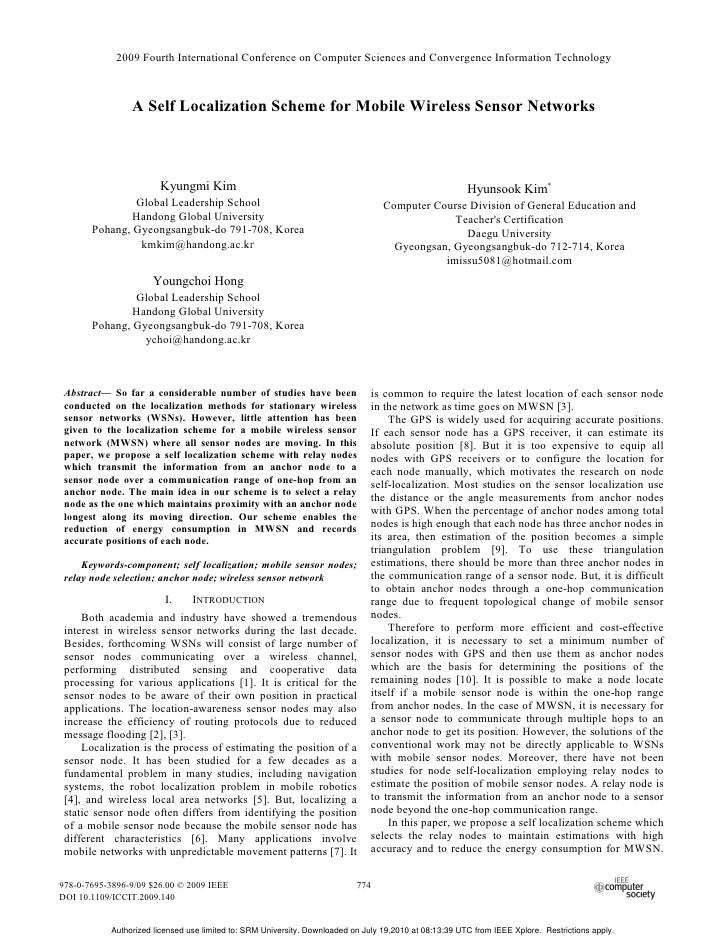 2009 Fourth International Conference on Computer Sciences and Convergence Information Technology                A Self Loc...