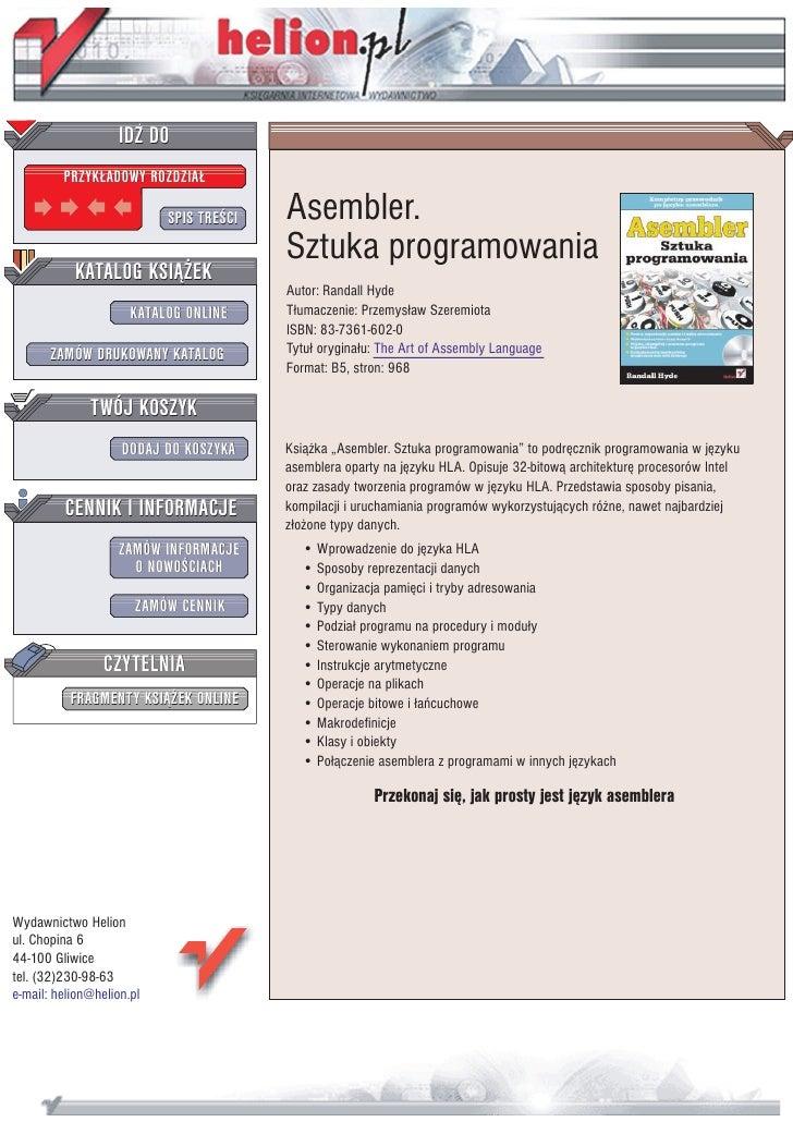 IDZ DO          PRZYK£ADOWY ROZDZIA£                             SPIS TRE CI   Asembler.                                  ...