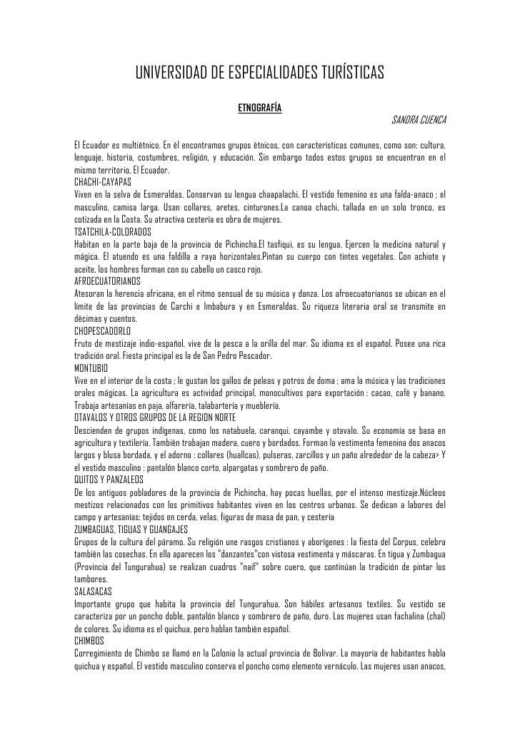 UNIVERSIDAD DE ESPECIALIDADES TURÍSTICAS                                                   ETNOGRAFÍA                     ...