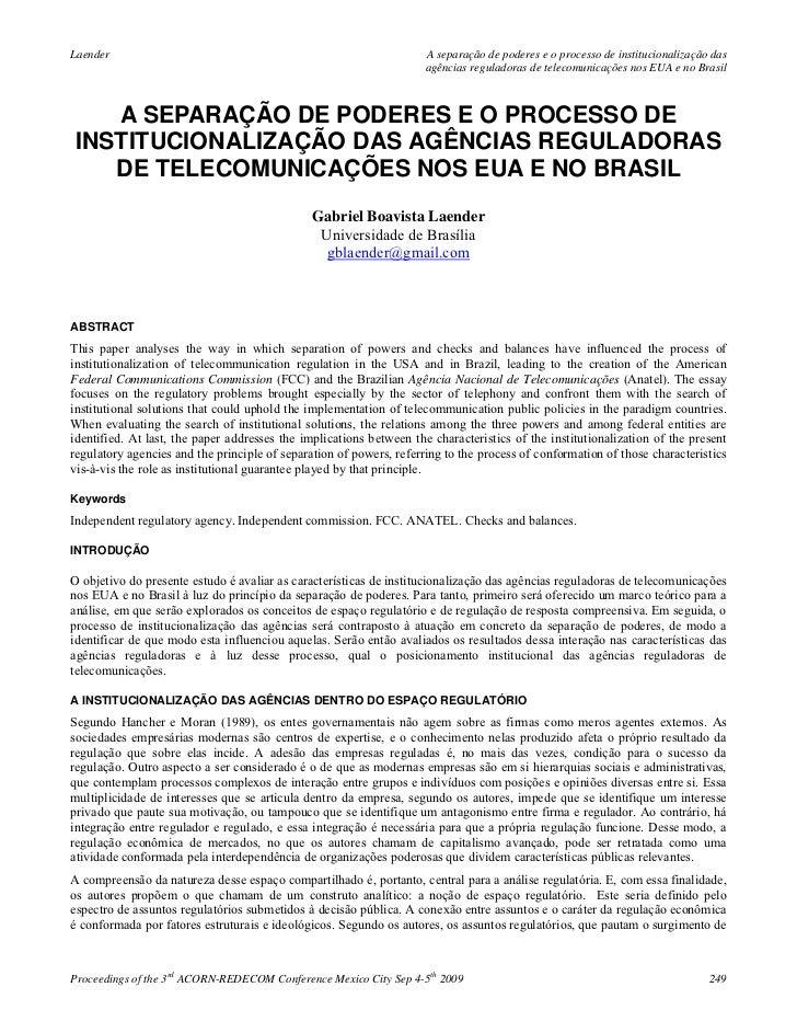 A separação de poderes e o processo de institucionalização das agências reguladoras de telecomunicações nos eua e no brasil   gabriel boavista laender (2009)