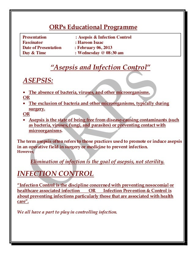 Asepsis, infection control