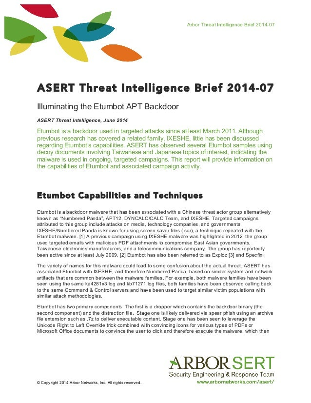 Arbor Threat Intelligence Brief 2014-07 © Copyright 2014 Arbor Networks, Inc. All rights reserved. ASERT Threat Intelligen...