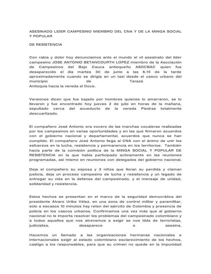 ASESINADO LIDER CAMPESINO MIEMBRO DEL CNA Y DE LA MINGA SOCIAL Y POPULAR  DE RESISTENCIA   Con rabia y dolor hoy denunciam...