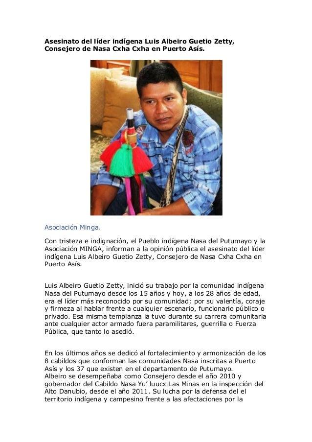 Asesinato del líder indígena Luis Albeiro Guetio Zetty