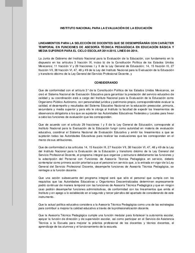 INSTITUTO NACIONAL PARA LA EVALUACIÓN DE LA EDUCACIÓN  LINEAMIENTOS PARA LA SELECCIÓN DE DOCENTES QUE SE DESEMPEÑARÁN CON ...