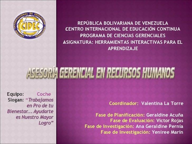 Asesoria gerencial en recursos humanos, presentación