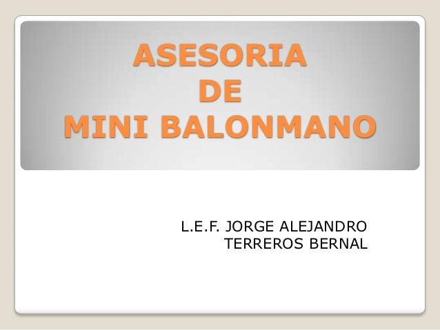 ASESORIA       DEMINI BALONMANO     L.E.F. JORGE ALEJANDRO            TERREROS BERNAL