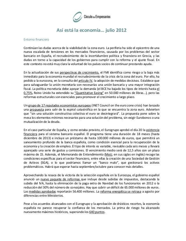 Entorno Financiero (Julio 2012)