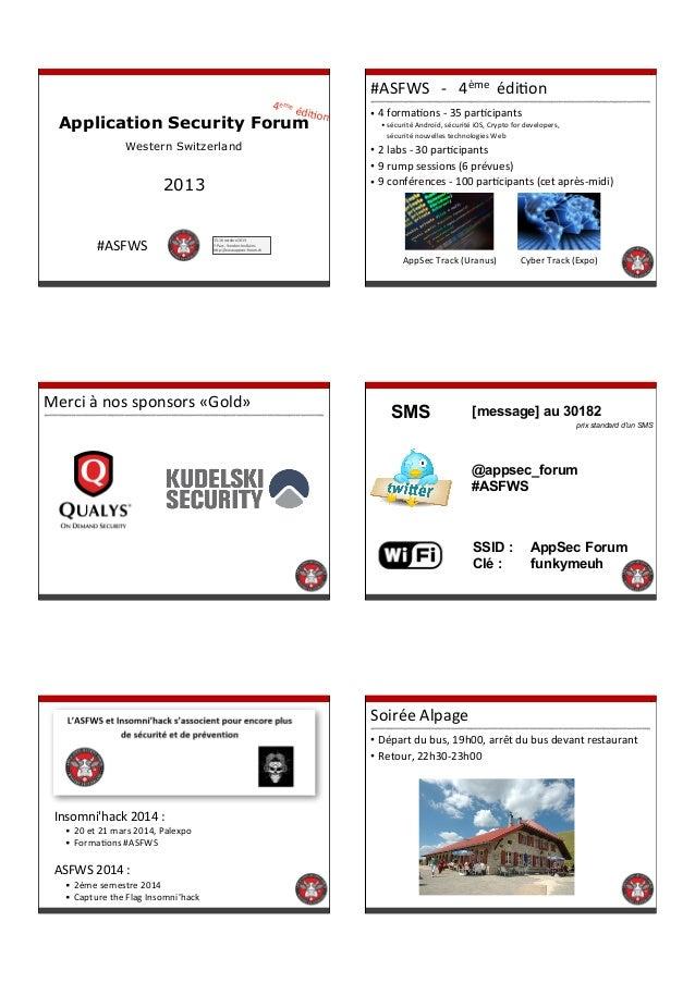 2  4 ème%é diKon  Application Security Forum Western Switzerland  2013  #ASFWS  #ASFWS%%%#%%%4ème%%édiKon • 4%formaKons%#%...