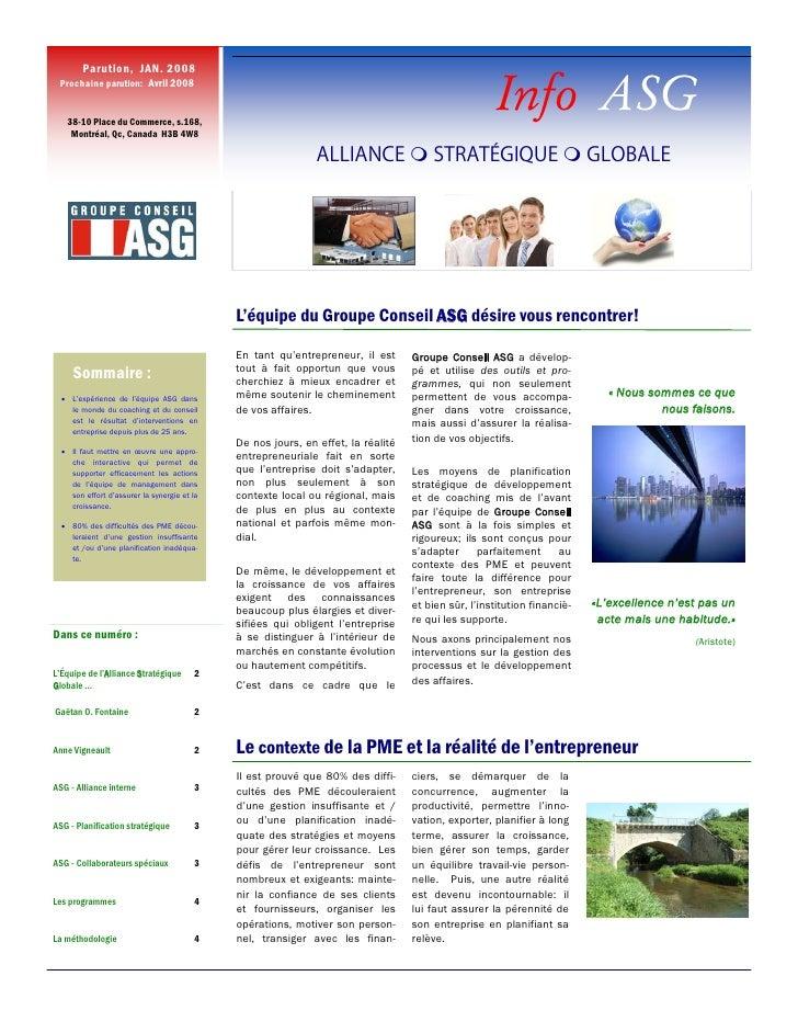 Parution, JAN. 2008  Prochaine parution: Avril 2008      38-10 Place du Commerce, s.168,                                  ...
