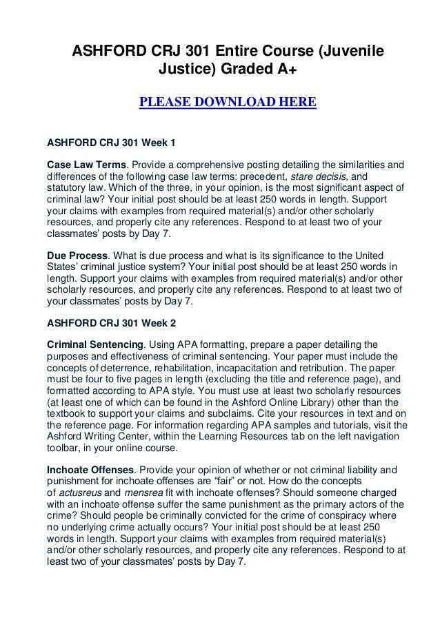 ASHFORD CRJ 301 Entire Course (Juvenile              Justice) Graded A+                     PLEASE DOWNLOAD HEREASHFORD CR...