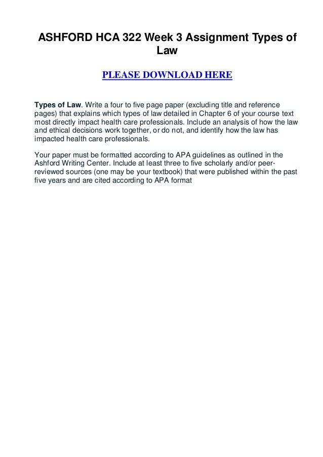 Ashford hca 322 week 3 assignment types of law