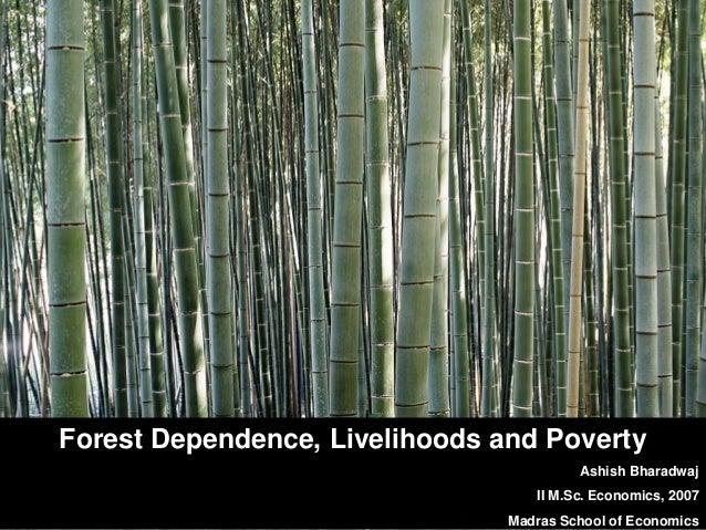 Forest Dependence, Livelihoods and Poverty Ashish Bharadwaj II M.Sc. Economics, 2007 Madras School of Economics
