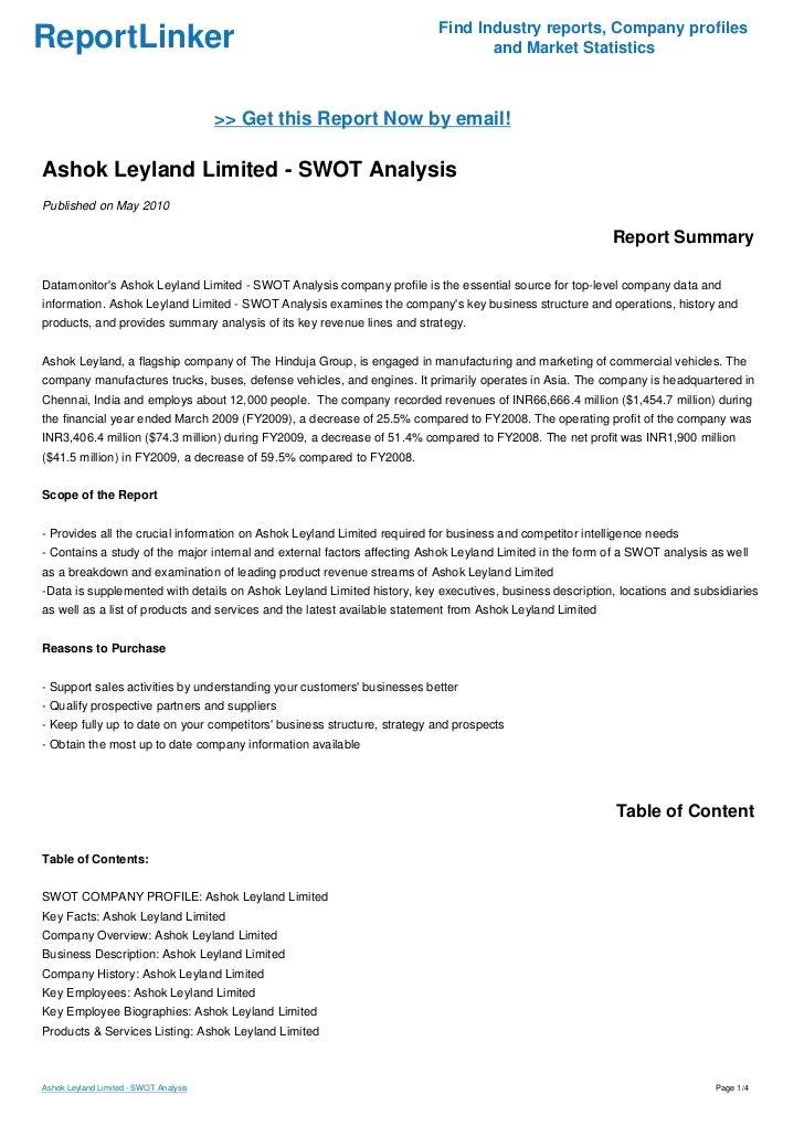 Ashok Leyland Limited - SWOT Analysis