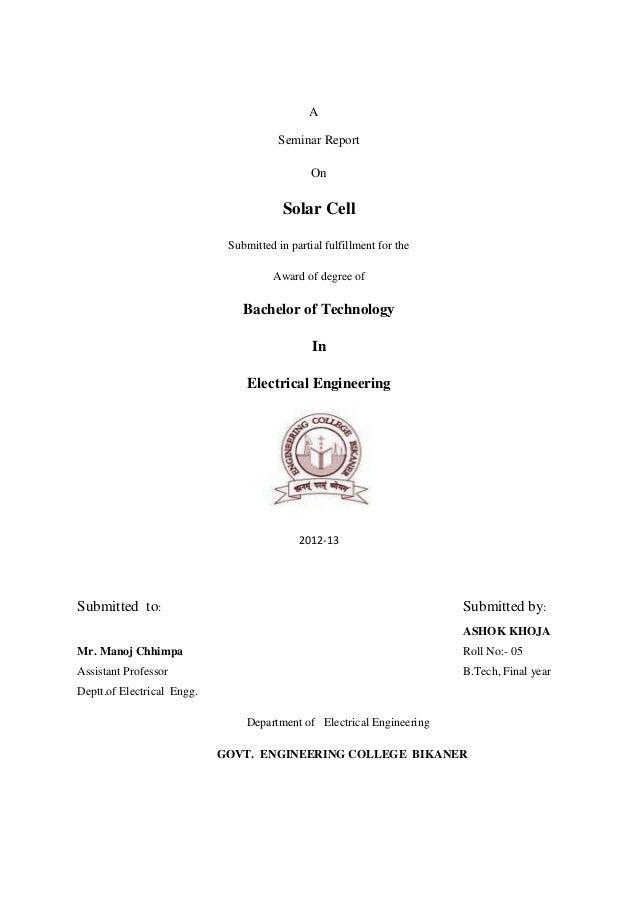 seminar report on solar cell