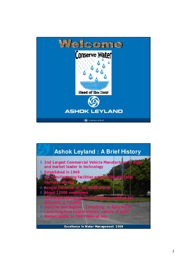 Conserve Water Need of the Hour presented by Ashok Leyland