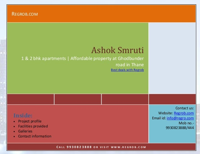 REGROB.COM  Ashok Smruti 1 & 2 bhk apartments | Affordable property at Ghodbunder road in Thane Best deals with Regrob  Co...