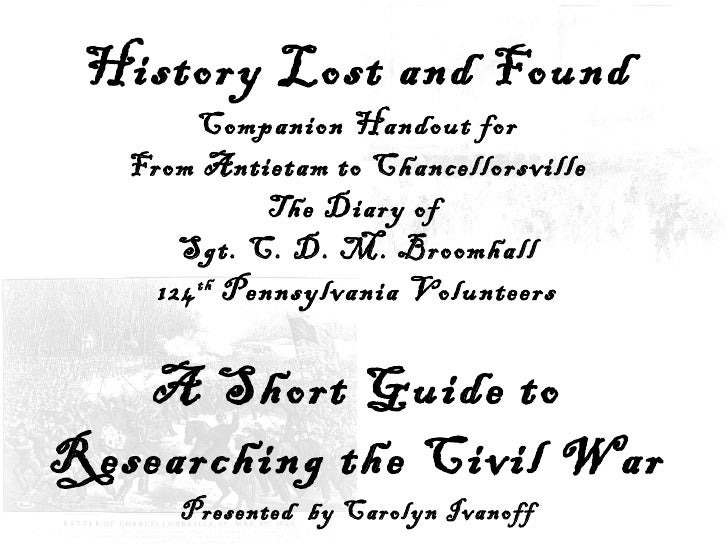 A Short Guide to Researching Civil War Soldiers