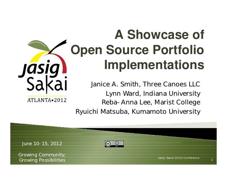 A Showcase of                        Open Source Portfolio                            Implementations                     ...