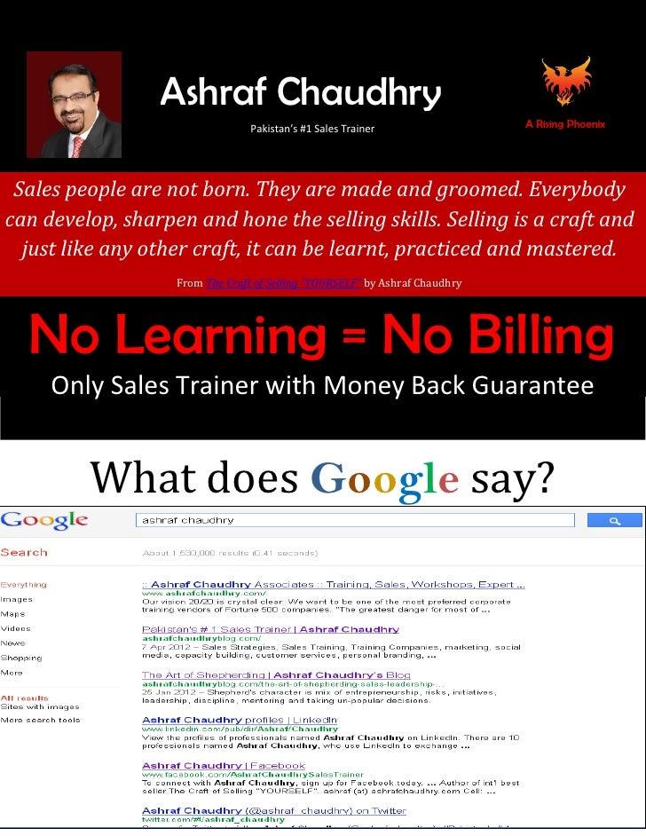 Profile of Ashraf Chaudhry Pakistan's #1 Sales Trainer