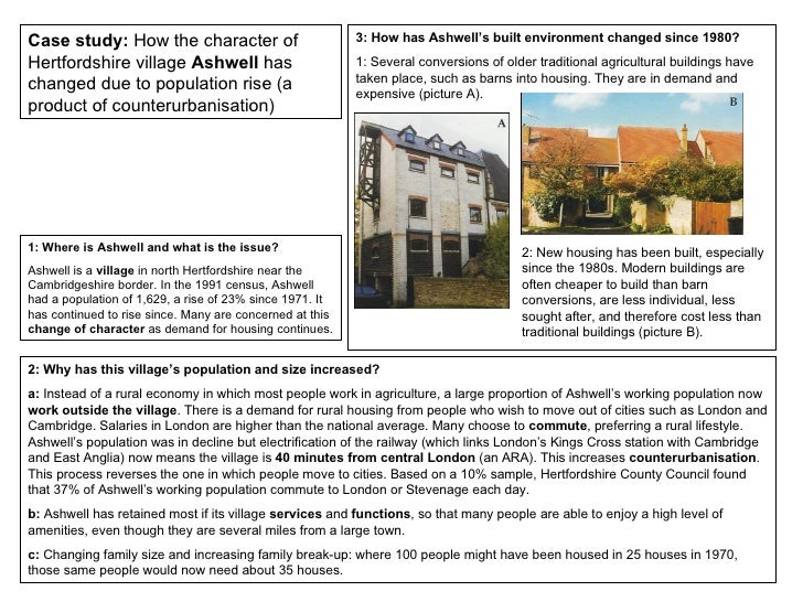 Case study:  How the character of Hertfordshire village  Ashwell  has changed due to population rise (a product of counter...