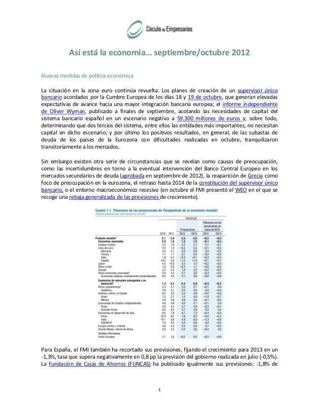 Así está la economía… septiembre/octubre 2012 Nuevas medidas de política económica La situación en la zona euro continúa r...