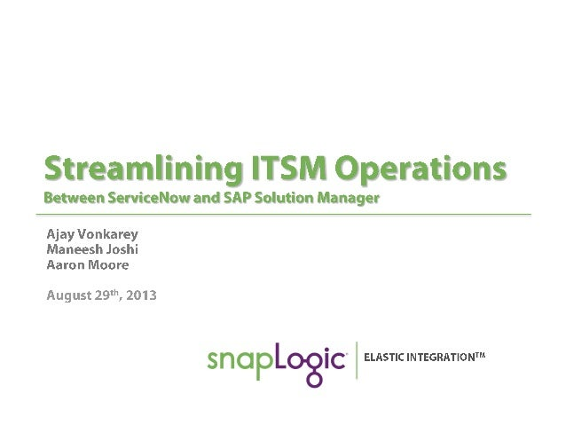 Streamlining ITSM Operations Between ServiceNow and SAP Solution Manager
