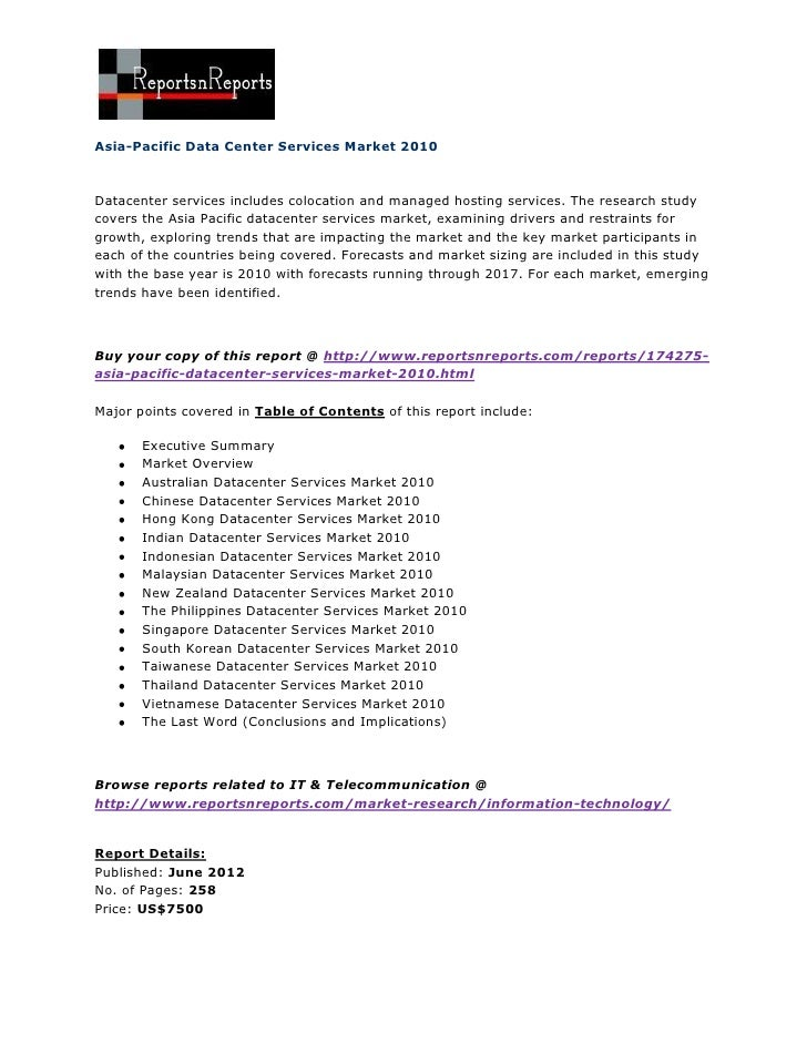 Asia pacific data center services market 2010
