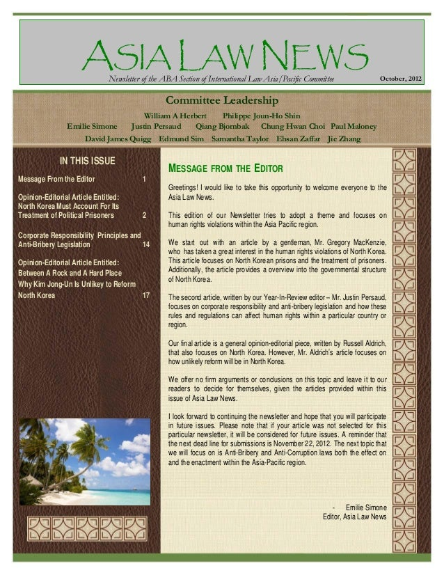 ASIA LAW NEWS Newsletter of the ABA Section of International Law Asia/Pacific Committee  October, 2012  Committee Leadersh...