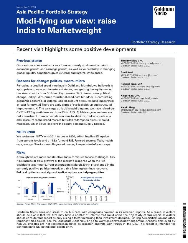 November 5, 2013  Asia Pacific: Portfolio Strategy  Modi-fying our view: raise India to Marketweight Portfolio Strategy Re...