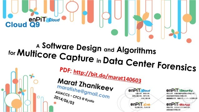 . On the Way IN: DC Forensics M.Zhanikeev -- maratishe@gmail.com -- Design and Algorithms for Multicore Capture in Data Ce...