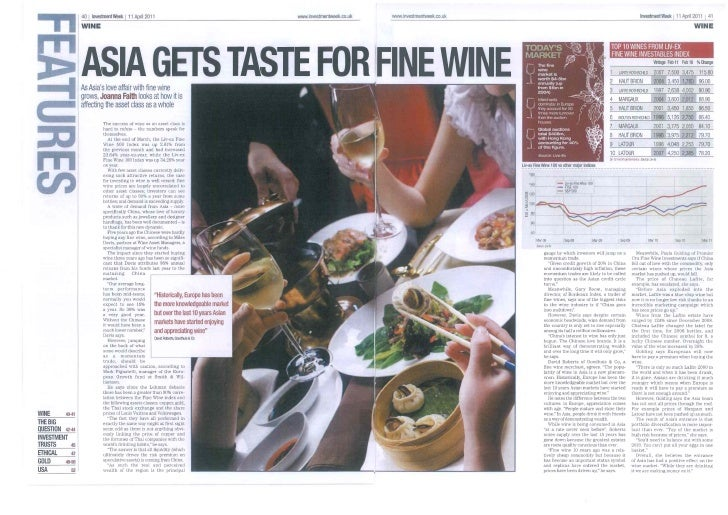 Asia gets a taste for fine wine   investment week - 11-04-2011