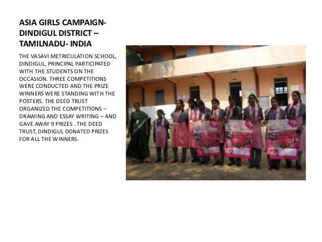 ASIA GIRLS CAMPAIGN-DINDIGUL DISTRICT –TAMILNADU- INDIATHE VASAVI METRICULATION SCHOOL,DINDIGUL, PRINCIPAL PARTICIPATEDWIT...