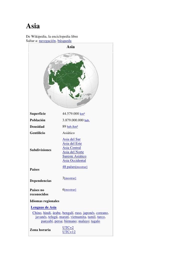 AsiaDe Wikipedia, la enciclopedia libreSaltar a: navegación, búsqueda                           Asia  Superficie          ...