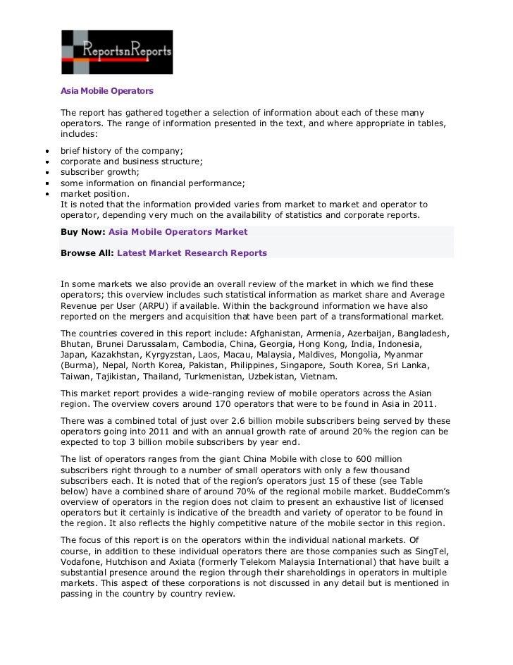 ReportsnReports – Asia Mobile Operators