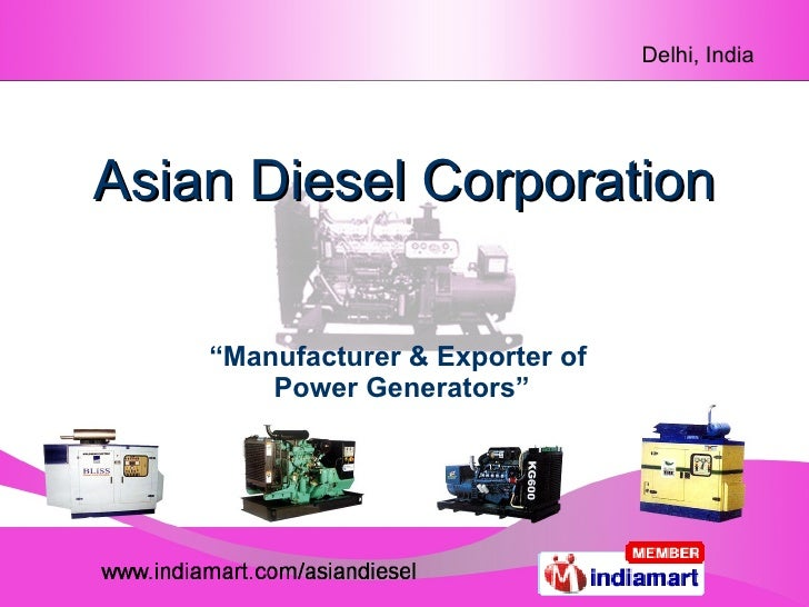 "Asian Diesel Corporation "" Manufacturer & Exporter of  Power Generators"""