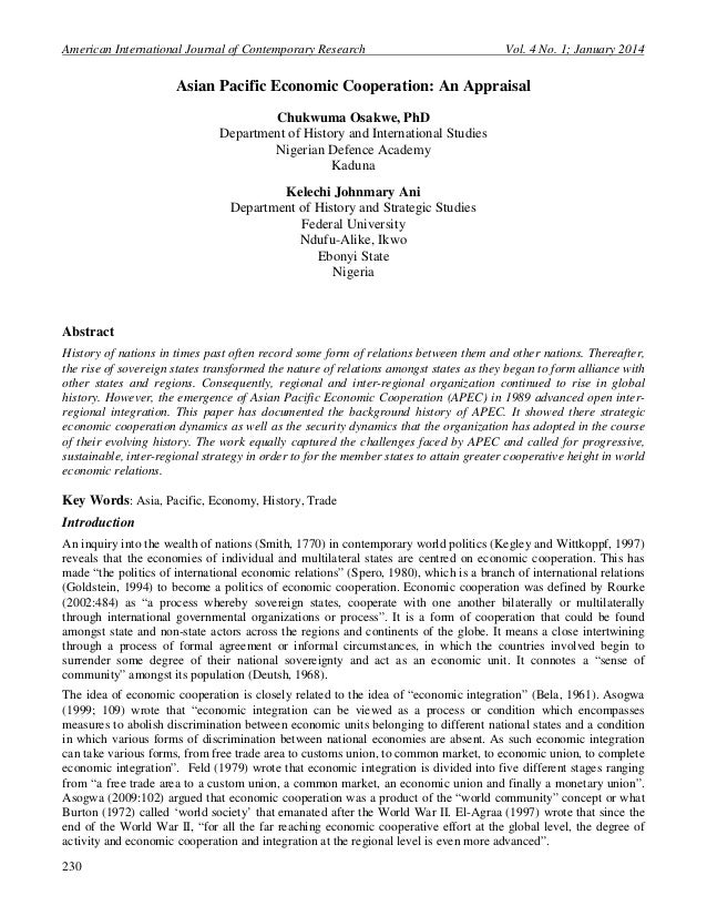 American International Journal of Contemporary Research  Vol. 4 No. 1; January 2014  Asian Pacific Economic Cooperation: A...