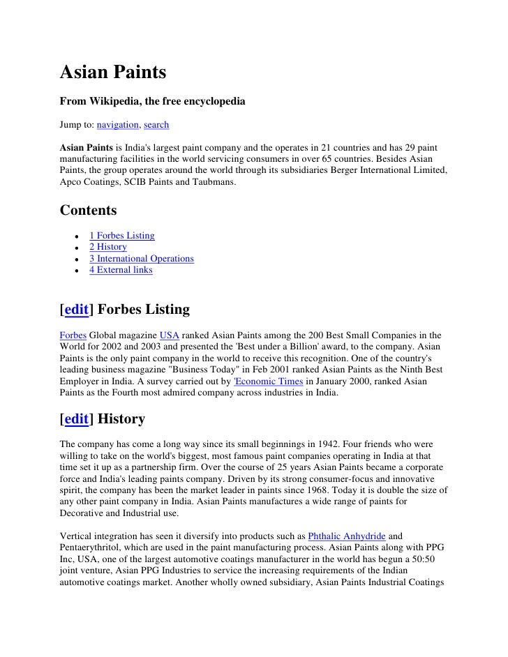 Asian Paints From Wikipedia, the free encyclopedia  Jump to: navigation, search  Asian Paints is India's largest paint com...