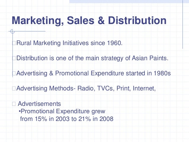 asian paints marketing strategy Marketing strategy & promotion excellence  asian paints  •asian paints wants to become one of the top 5 decorative coating companies world wide by.