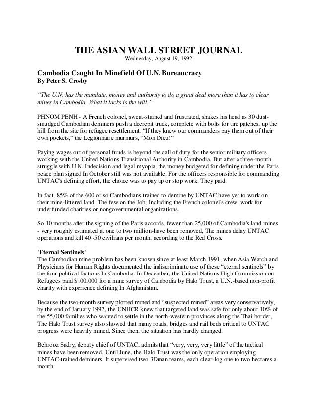 THE ASIAN WALL STREET JOURNAL                                   Wednesday, August 19, 1992Cambodia Caught In Minefield Of ...