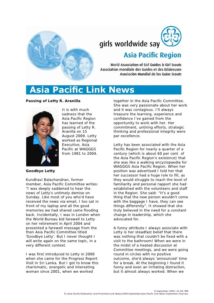 Asia Pacific Link News - September 2009