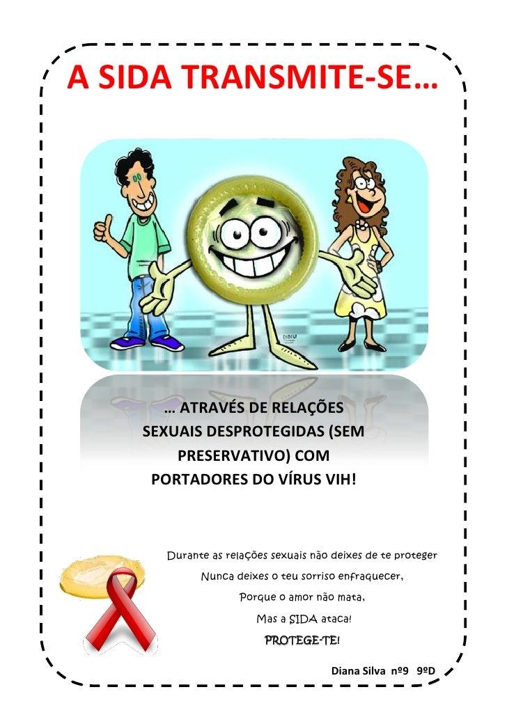A SIDA TRANSMITE-SE…            … ATRAVÉS DE RELAÇÕES     SEXUAIS DESPROTEGIDAS (SEM         PRESERVATIVO) COM      PORTAD...