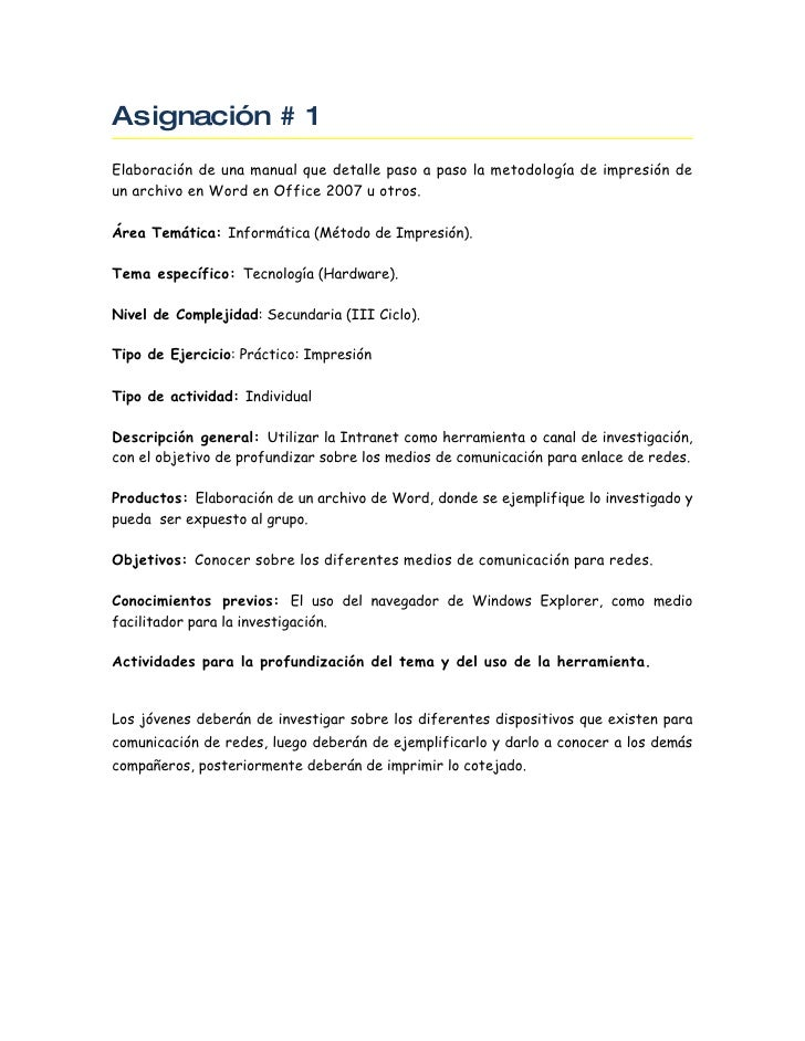 Asignación # 1 Elaboración de una manual que detalle paso a paso la metodología de impresión de un archivo en Word en Offi...