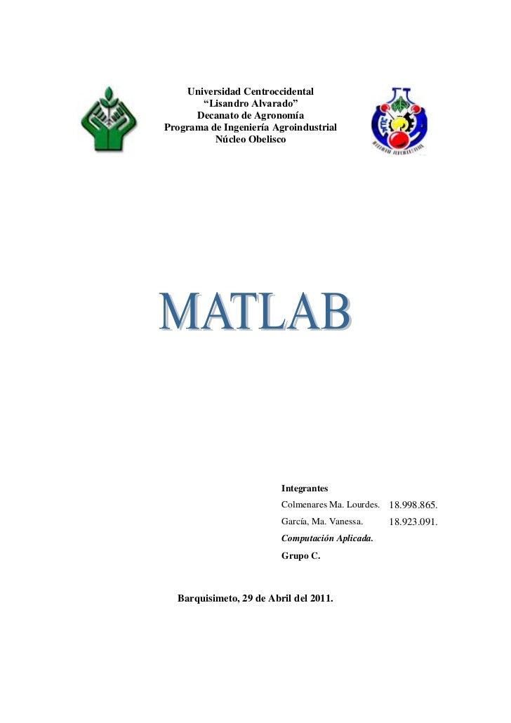 """Universidad Centroccidental""""Lisandro Alvarado""""Decanato de AgronomíaPrograma de Ingeniería AgroindustrialNúcleo Obelisco<br..."""
